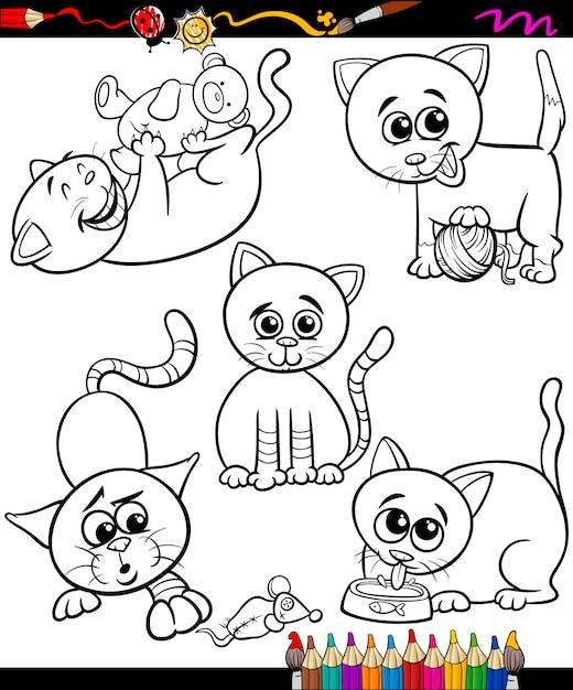 Conjunto de gatos dibujos animados libro para colorear | Descargar ...