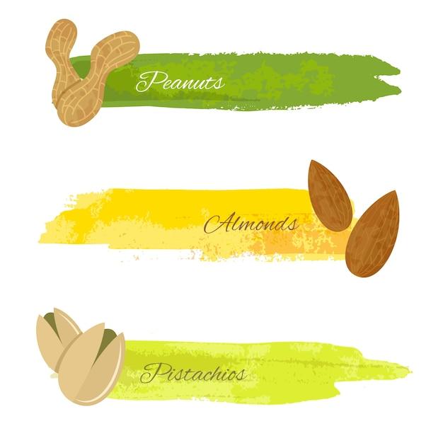 Conjunto de grunge pancartas de colores con nueces de almendra de pistacho aislado en blanco ilustración vectorial Vector Gratis