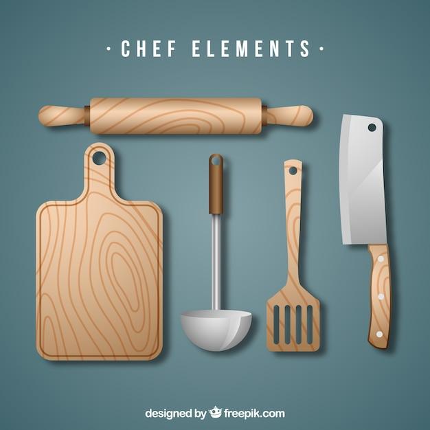 Conjunto de herramientas de cocina de madera descargar for Herramientas para cocina
