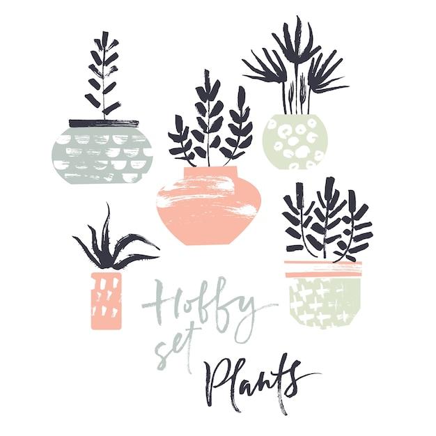 Conjunto de hobby. plantas en macetas. texturas de pincel seco ...