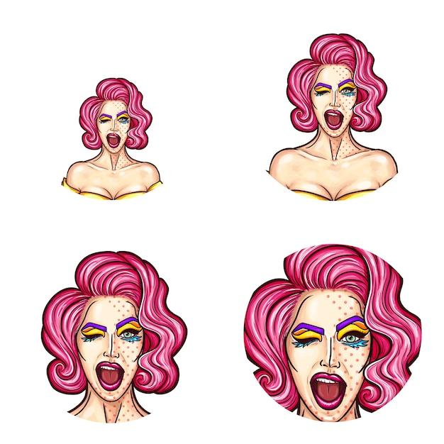 Conjunto de iconos de avatar redondo del arte pop para los usuarios de las redes sociales, blogs, iconos de perfil. Vector Gratis