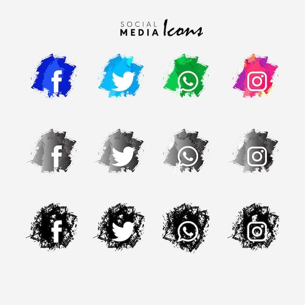 conjunto de iconos de redes sociales Vector Gratis
