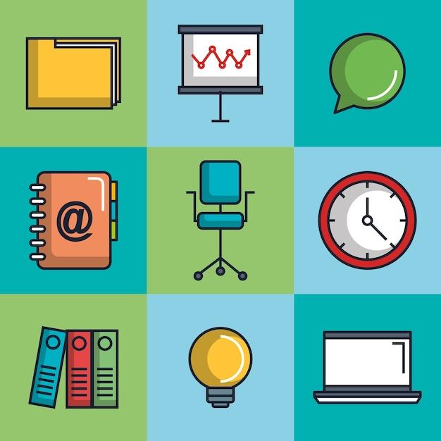 Conjunto de iconos de suministros de equipos de papeler a for Suministros de papeleria para oficina