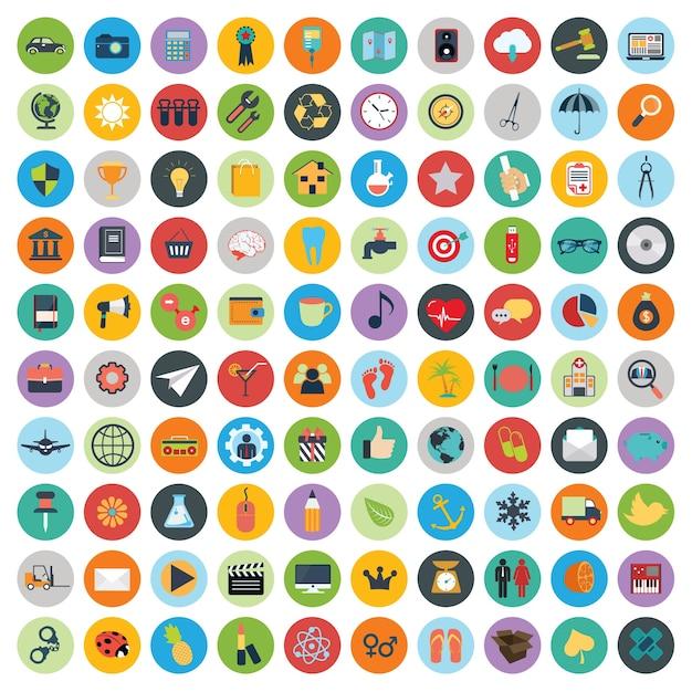 Conjunto de iconos web y la tecnología de desarrollo Vector Gratis