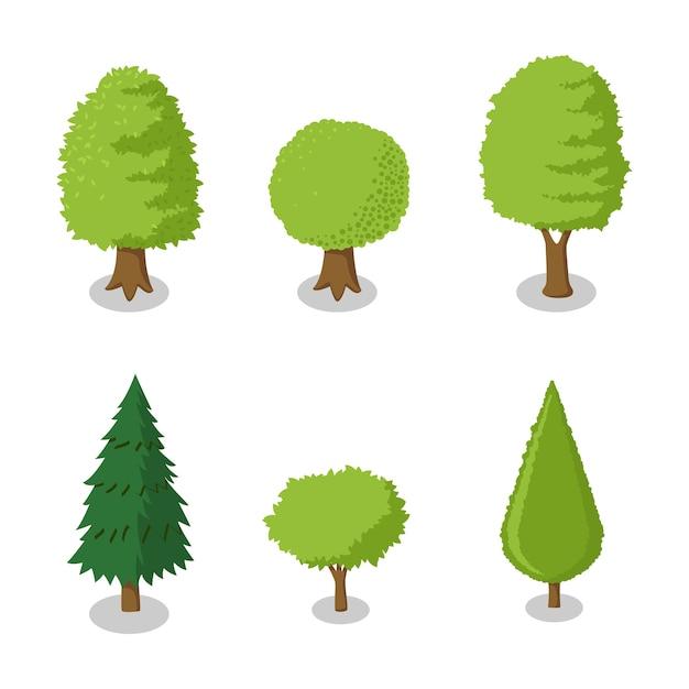 Conjunto de ilustración isométrica árbol vector | Descargar Vectores ...