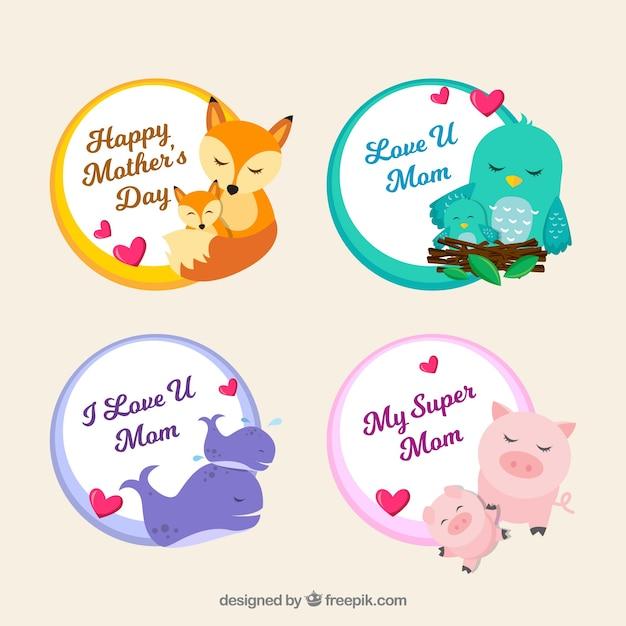 Conjunto de insignias del día de la madre con lindos animales en estilo plano Vector Gratis