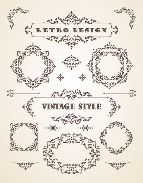 Conjunto de insignias, marcos, etiquetas y fronteras retro vintage ...