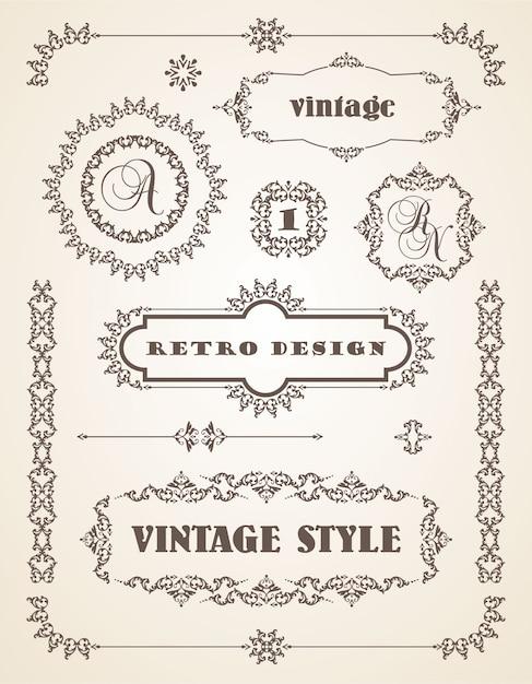 Conjunto de insignias, marcos, etiquetas y fronteras vintage retro ...