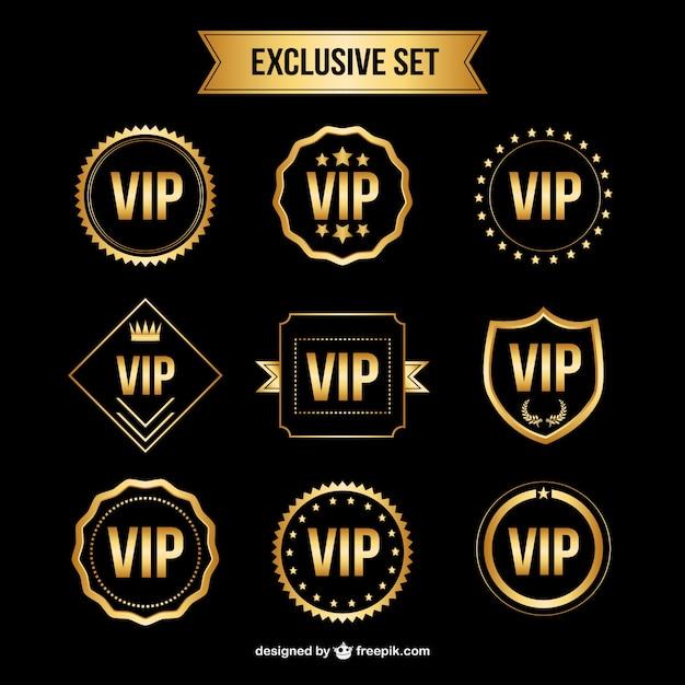 conjunto de insignias vip de oro descargar vectores gratis. Black Bedroom Furniture Sets. Home Design Ideas