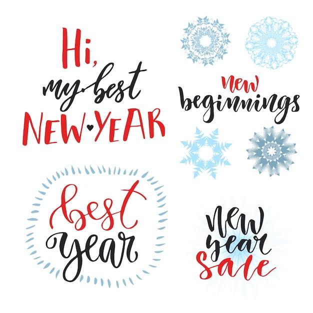 Conjunto de letras caligráficas de año nuevo. diseño vectorial para ...