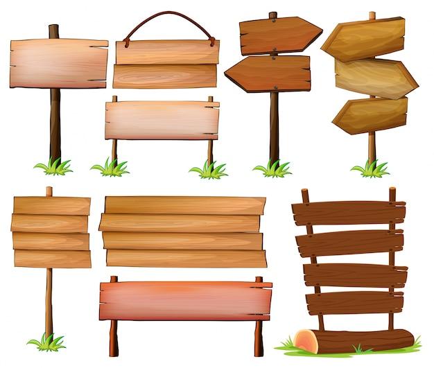 Conjunto de letreros de madera sobre un fondo blanco - Letreros en madera ...