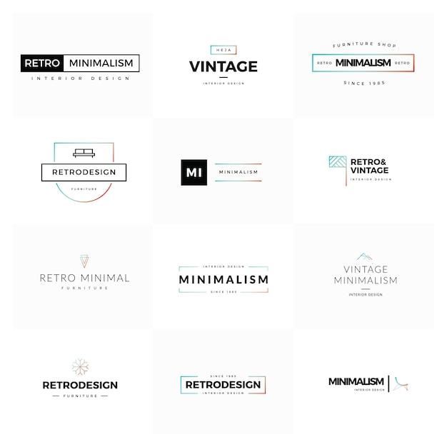 Conjunto de logotipos modernos y mínimos del vector de la vendimia ...