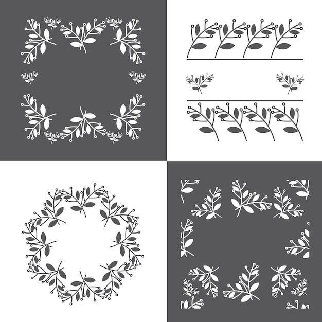 Conjunto de marco con flores decorativas de primavera vector libre ...