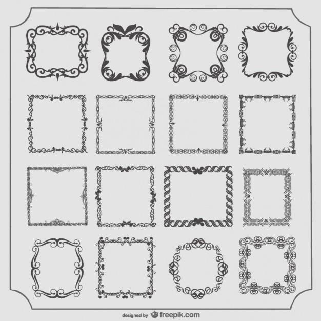 Conjunto de marcos antiguos vector con conjunto | Descargar Vectores ...