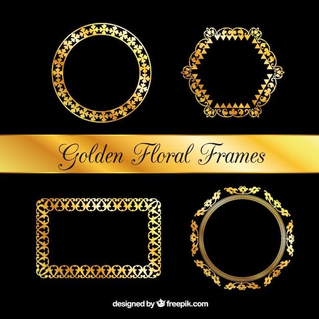 Conjunto de marcos de flores de lujo | Descargar Vectores gratis