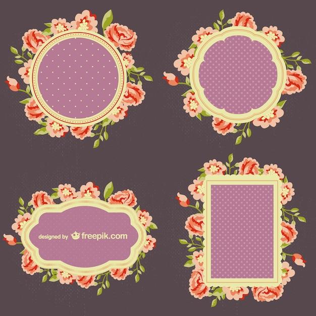 Conjunto de marcos de flores | Descargar Vectores gratis