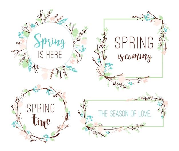 Conjunto de marcos de primavera de ramas y hojas.   Descargar ...