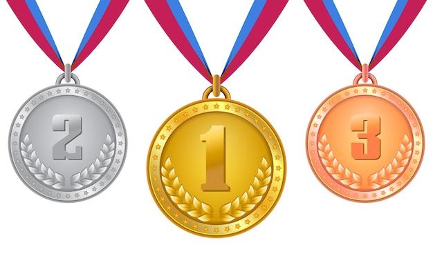Conjunto De Medallas, Medallas En Oro, Plata Y Bronce