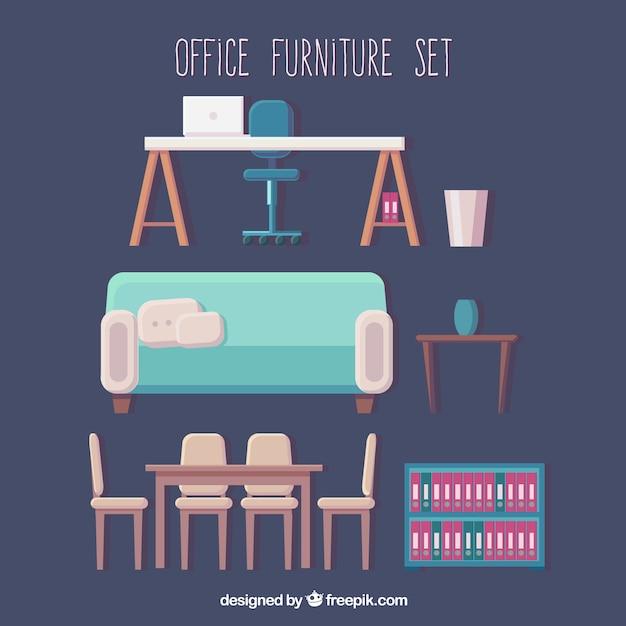 Conjunto de muebles de oficina descargar vectores gratis for Conjunto muebles oficina