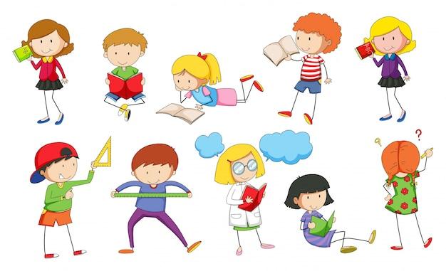 Dibujos Animados De Animales Estudiando: Conjunto De Niños Estudiando Ilustración