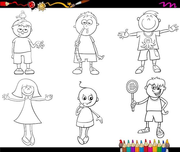 Conjunto de niños para colorear | Descargar Vectores Premium