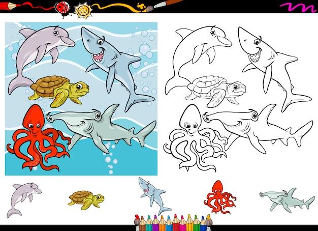 Conjunto de página de colorear de dibujos animados de vida marina ...
