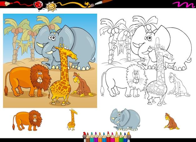Conjunto de página para colorear de animales africanos | Descargar ...