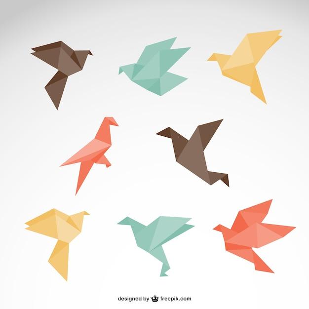 Conjunto de pájaros estilo origami Vector Gratis
