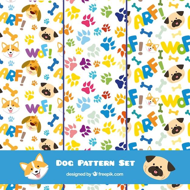 Conjunto de patrones de perro | Descargar Vectores gratis