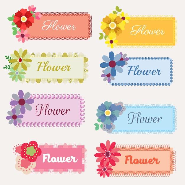 Conjunto de pegatinas de flores | Descargar Vectores Premium