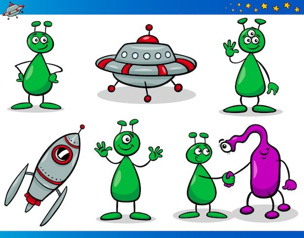 Conjunto De Personajes De Dibujos Animados Alienígenas O