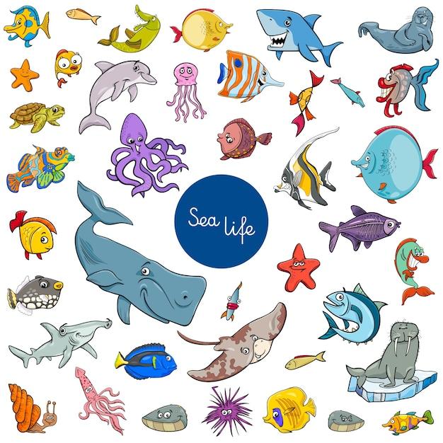 Conjunto de personajes de dibujos animados mar vida animal ...