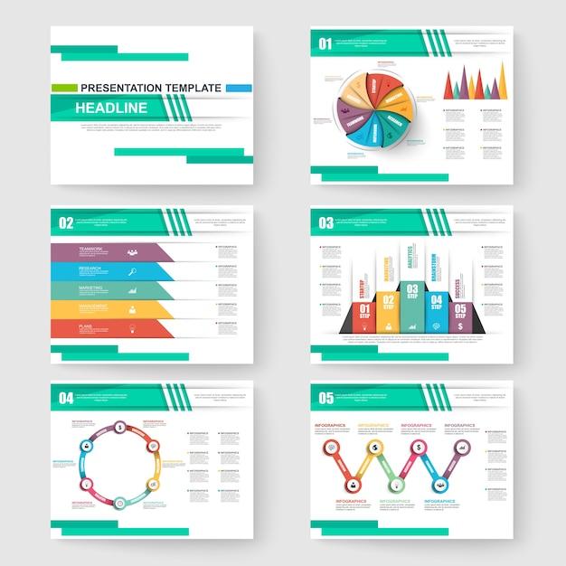 conjunto de plantillas de diapositivas de presentación powerpoint y