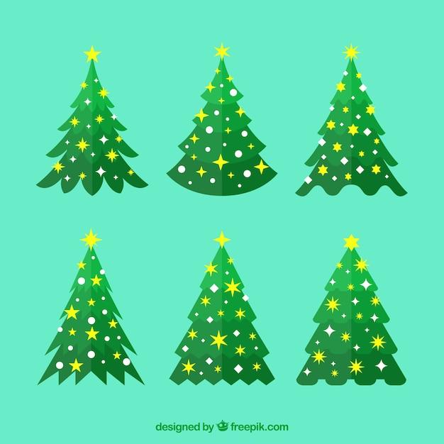 conjunto de seis rboles de navidad con estrellas y crculos vector gratis