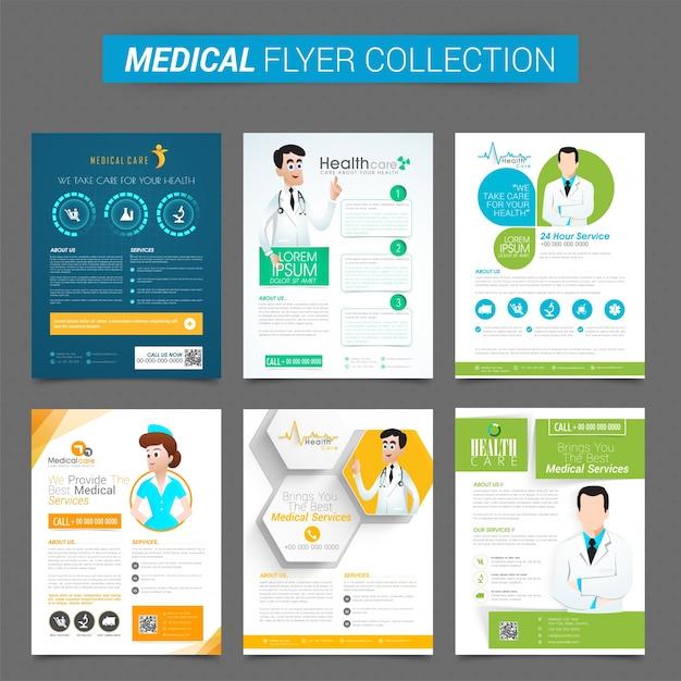 Conjunto de seis folletos creativos o plantilla de diseño para la salud y concepto médico Vector Gratis