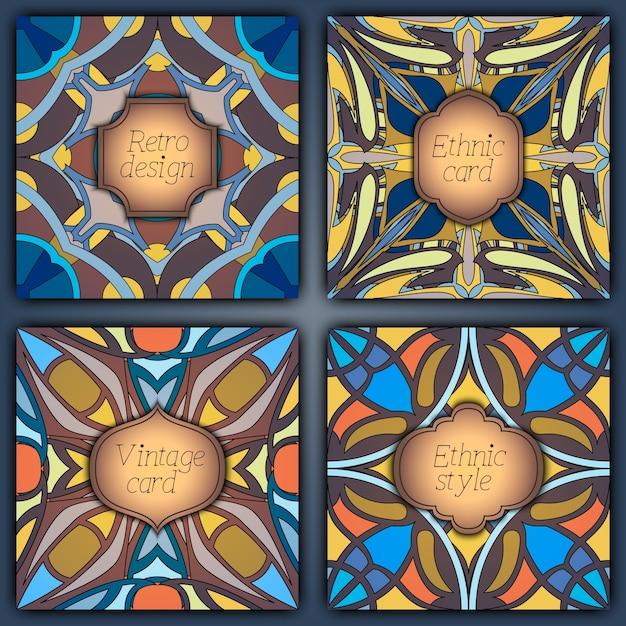 Conjunto de tarjetas en estilo vintage. plantillas de diseño ...