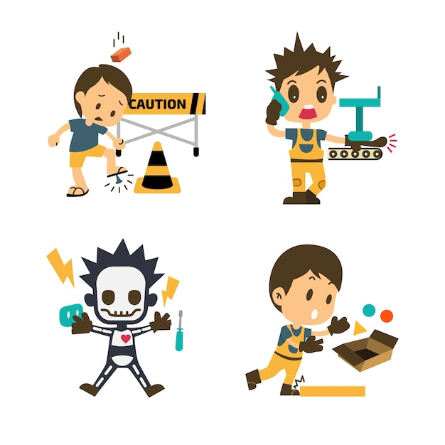 Conjunto de trabajador de la construcción, trabajo de accidentes ...