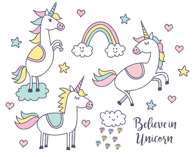 Conjunto De Unicornios De Dibujos Animados Con Arco Iris