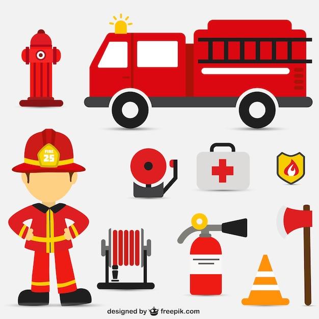Personajes de dibujos animados bombero en acción | Descargar ...