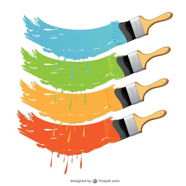 Conjunto de vectores de brochas con pinturas descargar vectores gratis - Brochas pintura ...
