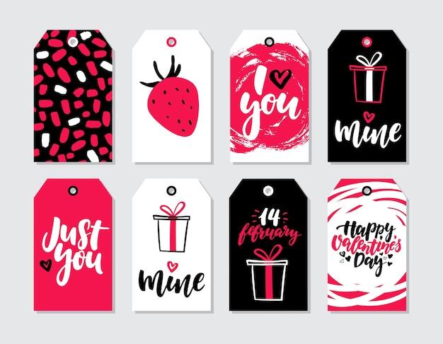 Conjunto de vectores de etiqueta de regalo de día de san valentín ...