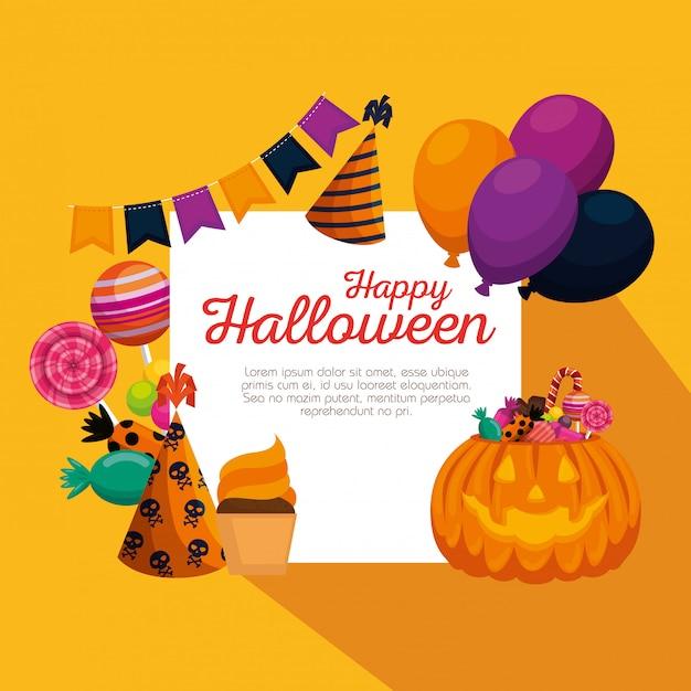 Conjunto de decoración feliz halloween vector gratuito