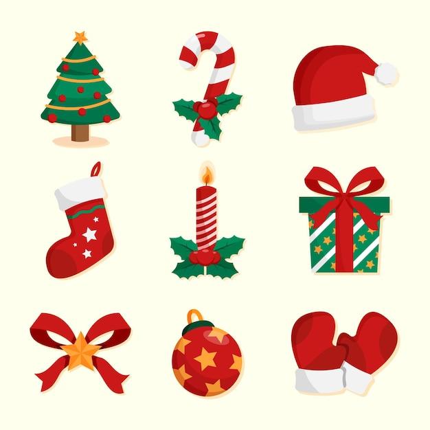 Conjunto de decoración navideña de diseño plano Vector Premium