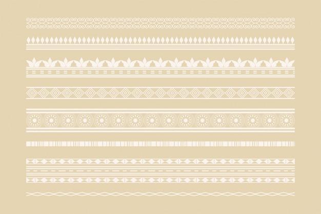 Conjunto de decoración de página y bordes étnicos clásicos vector gratuito