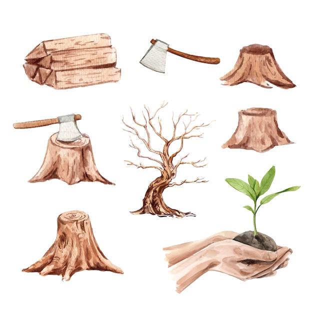 Conjunto de deforestación de acuarela, vector de ilustración dibujada a mano vector gratuito