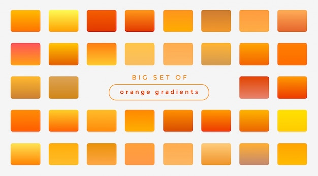 Conjunto de degradados de color naranja brillante y amarillo. vector gratuito