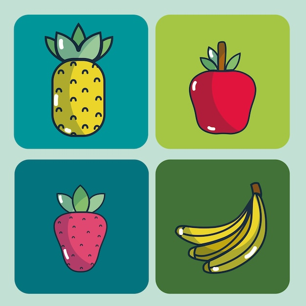 Dibujos Con Cuadros.Conjunto De Deliciosa Coleccion De Dibujos Animados De Alimentos En