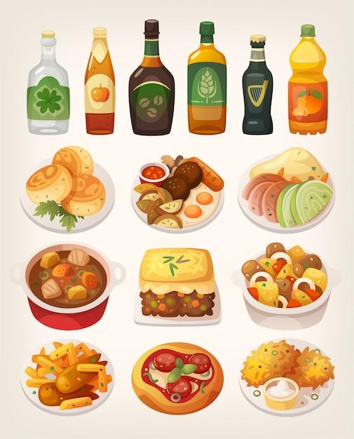 Conjunto de deliciosos platos tradicionales coloridos de la cocina irlandesa. Vector Premium