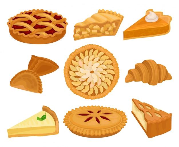 Conjunto de deliciosos productos de panadería. empanadas con diferentes rellenos, croissant fresco y tarta de queso. comida dulce. Vector Premium