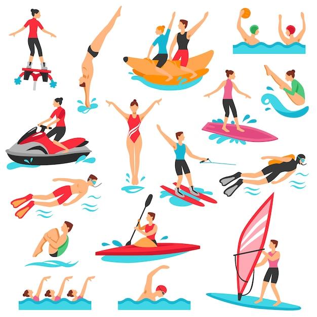 Conjunto de deportes acuáticos vector gratuito